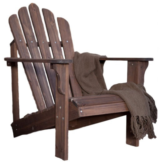 Durable Fir Wood Adirondack Chair with Armrest in Dark Brown - YourGardenStop
