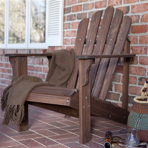 Durable Outdoor Patio Wooden Adirondack Chair in Dark Brown Finish - YourGardenStop