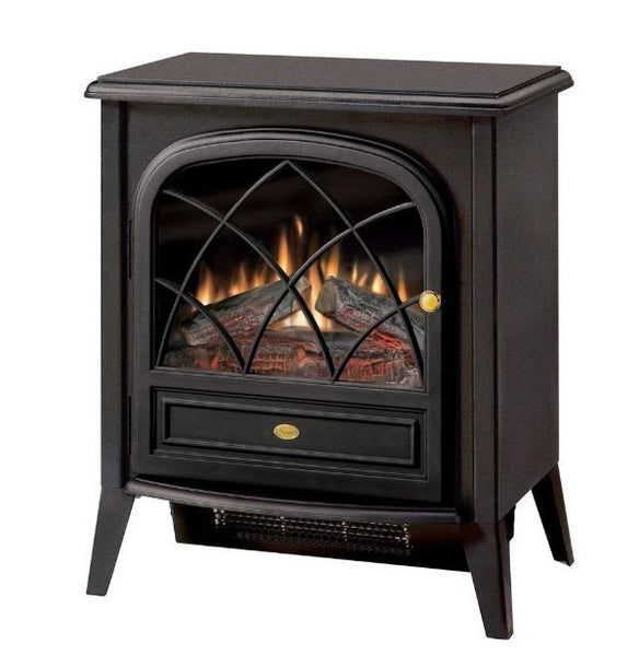 Black Compact Stove Style Electric Fireplace Space Heater w/3D Flame