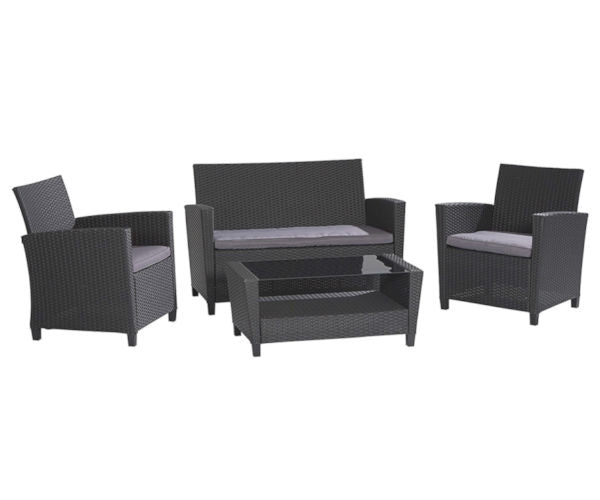 4-Piece Patio Set in Grey Resin Wicker and Cushions - YourGardenStop