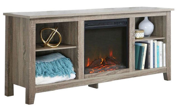 Driftwood 58 inch Electric Fireplace TV Stand Space Heater - YourGardenStop