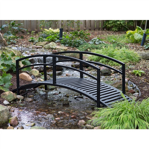 8' Metal Garden Bridge with Arched Rails in Black Powder Coated Steel - YourGardenStop