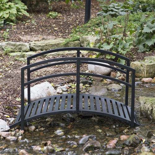 4-Ft Metal Garden Bridge in Black Steel with Side Rails - YourGardenStop