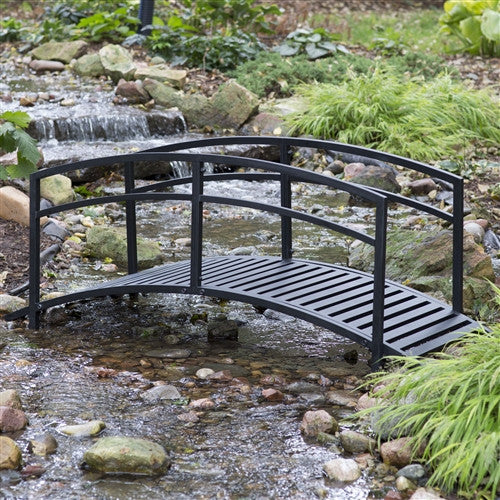6-Foot Black Metal Garden Bridge with Double Arch Side Rails