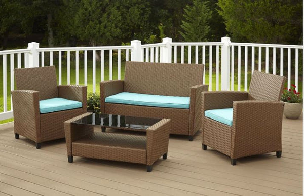 4-Piece Patio Furniture Set in Brown Wicker Resin w/Teal Cushions