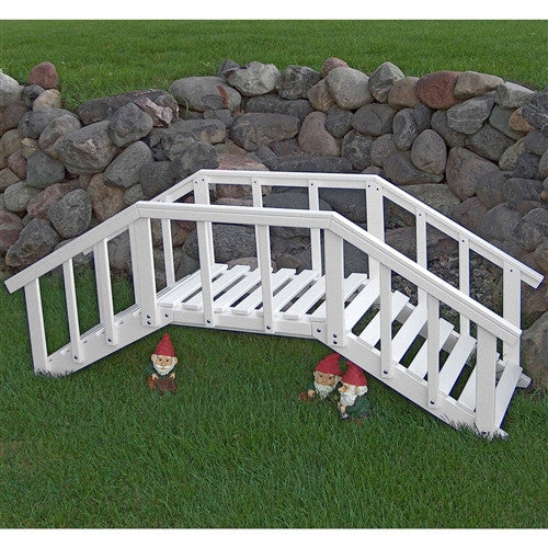 6.5' White Wood Garden Bridge with Rails in Durable Aspen Hardwood