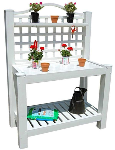 White Vinyl Outdoor Potting Bench with Trellis Made in USA - YourGardenStop