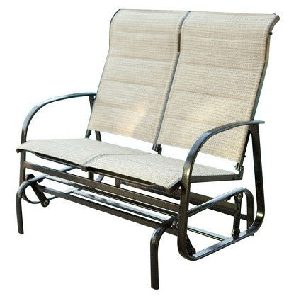Glider Patio Chair Loveseat with Padded Sling Seats in Beach Color
