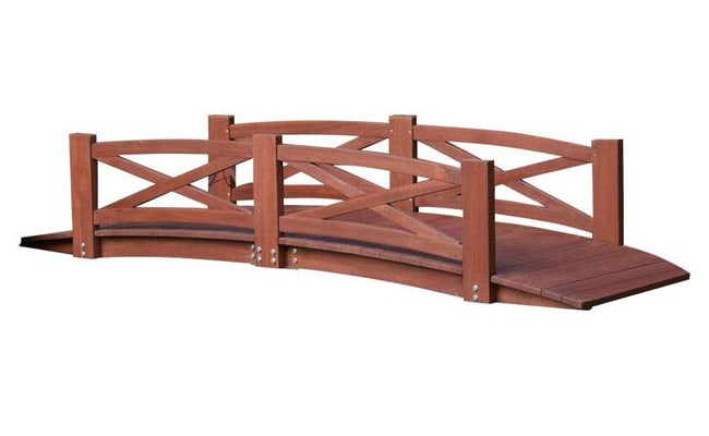 8-Ft Garden Bridge in Red Stained Acacia Wood w/X-Design Rails - YourGardenStop