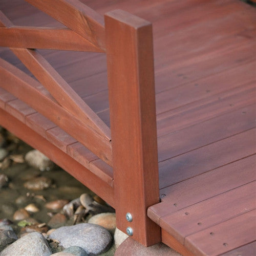 8 Ft Garden Bridge In Red Stained Acacia Wood W X Design Rails