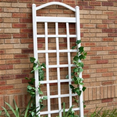 6 FT White Vinyl Garden Trellis with Arch & Anchors - YourGardenStop