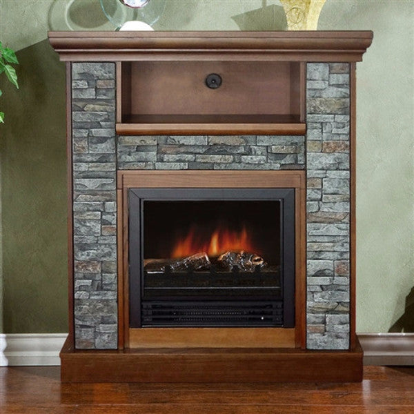 Classic Electric Fireplace Space Heater with Resin Stone - YourGardenStop