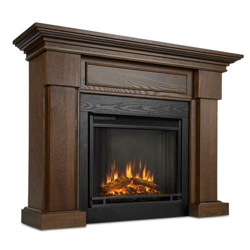 Chestnut Oak Wood Finish Traditional Electric Fireplace - YourGardenStop