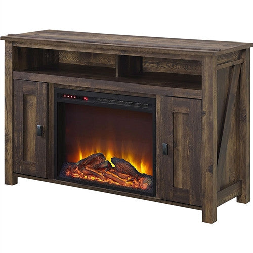 50-inch TV Stand in Medium Brown Wood with 1,500 Watt Electric Fireplace - YourGardenStop