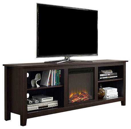 Espresso 70 inch Electric Fireplace TV Stand Space Heater - YourGardenStop