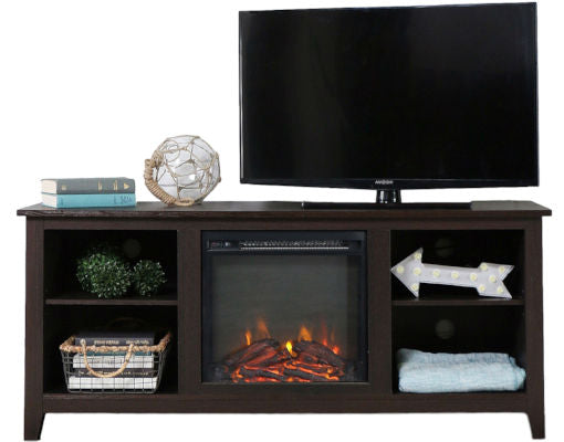 Espresso Wood 58 inch TV Stand Electric Fireplace Space Heater - YourGardenStop