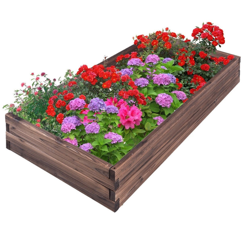 Solid Wood 4 ft x 2 ft Raised Garden Bed Planter 9 inch High - YourGardenStop