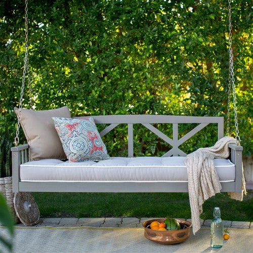 "Deep Seat 64"" Outdoor Patio Porch Swing in Driftwood with Cushion"