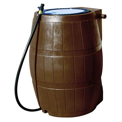 50 Gallon Brown UV Resistant Plastic Rain Barrel with 3 Ft Hose and Shutoff Valve - YourGardenStop