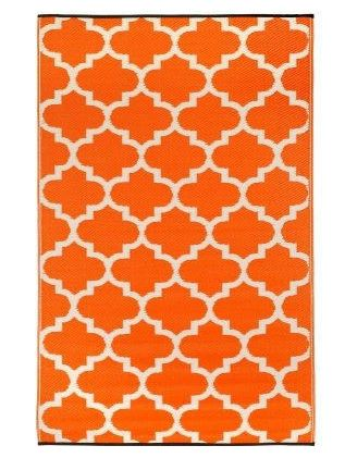 4' x 6' Reversible Indoor / Outdoor Area Rug in Orange White Trellis Pattern - YourGardenStop