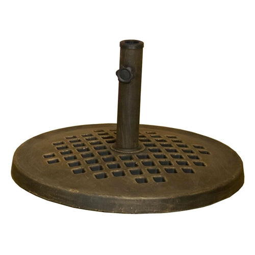 "24"" Cast Stone Patio Umbrella Base in Outdoor Bronze Metal Finish - YourGardenStop"