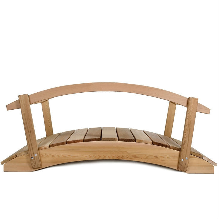 4-Ft Cedar Wood Garden Bridge with Rails in Natural Unstained Finish - YourGardenStop
