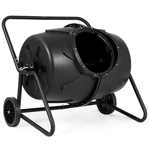 Outdoor Mobile 50-Gallon Compost Bin Tumbler on Wheels - YourGardenStop
