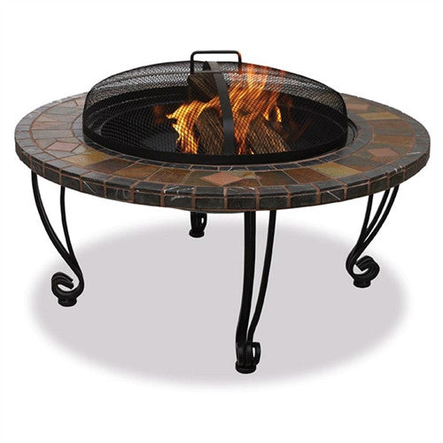 "Marble & Slate 34"" Fire Pit w/Copper Accents & Wrought Iron Stand"