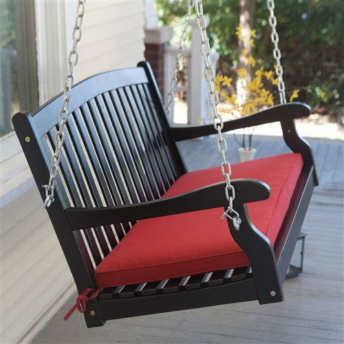 Black 5 Ft Wooden Porch Swing with Brick Red Cushion and Hardware - YourGardenStop
