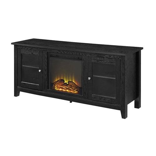 Black 2-in-1 TV Stand with Electric Fireplace Heater - YourGardenStop