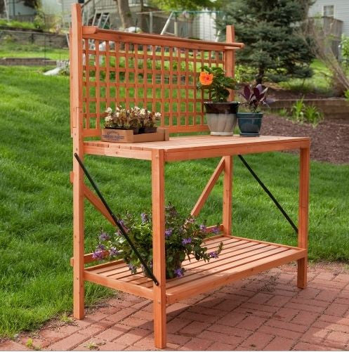 Folding Wood Potting Bench Outdoor Bakers Rack with Shelves - YourGardenStop