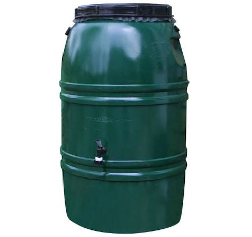 60-Gallon Plastic Rain Barrel in Forest Green - YourGardenStop