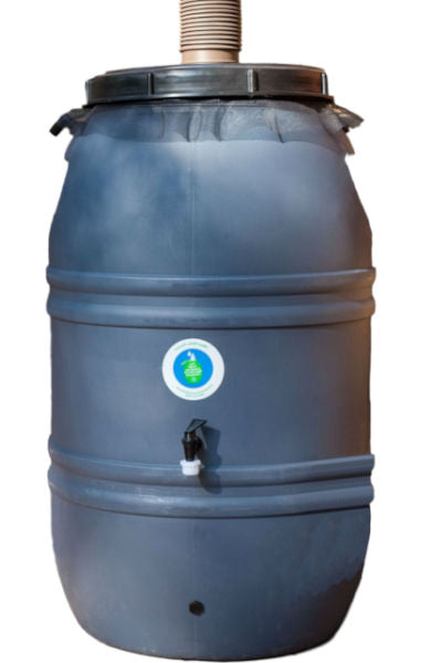 60-Gallon HDPE Plastic Rain Barrel with Screw on Cover - YourGardenStop