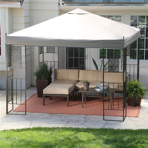 10-ft x 10-ft Patio Outdoor Gazebo with Steel Frame and Vented Canopy - YourGardenStop