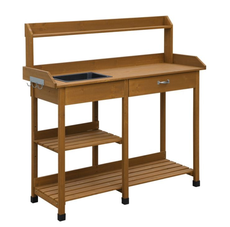 Patio Potting Bench with Sink Drawer and Storage Shelves - YourGardenStop