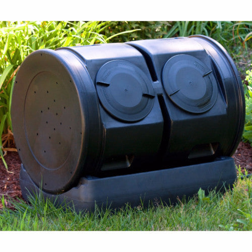 Duel Lid 7-Cubic ft. Composting Bin Tumbler with Compost Tea Collector