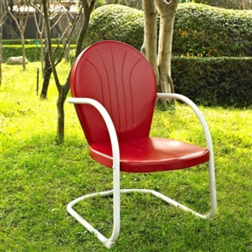 Sturdy Steel Outdoor Patio Dining Arm Chair in Red - YourGardenStop