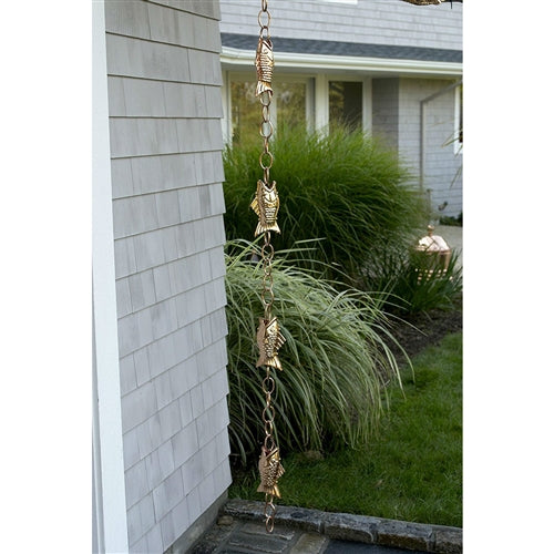 Pure Polished Copper 8.5 Foot Rain Chain with 4 Fish - YourGardenStop