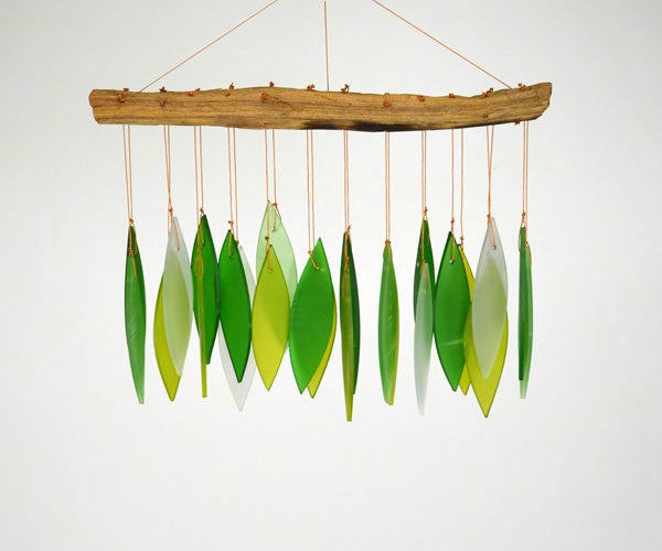 Spring Leaves & Driftwood Glass Chime - YourGardenStop