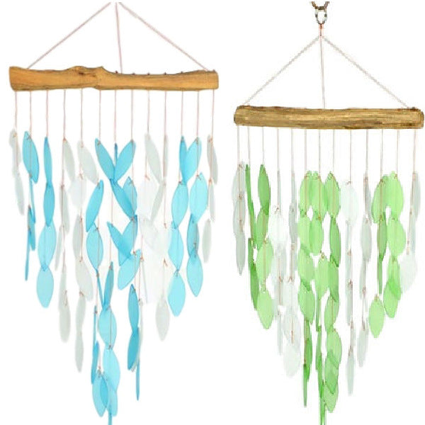 Green or Blue Waterfall Wind Chime Glass/Driftwood Ocean