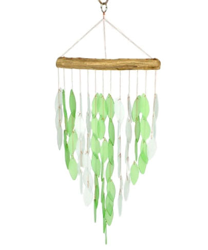 Green or Blue Waterfall Wind Chime Glass/Driftwood Ocean - YourGardenStop