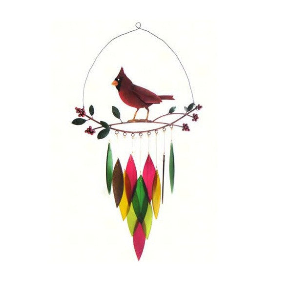 Cardinal on Branch Wind Chime - YourGardenStop