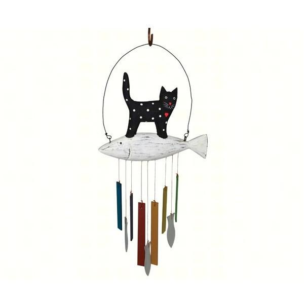 Wood & Glass Animal Wind Chime (Dog or Cat)