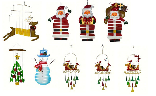 Christmas Mobiles & Wind Chimes (Santa, Angel, Snowman & Cardinals)