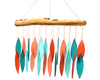 Coral & Teal Driftwood Wind Chime - YourGardenStop
