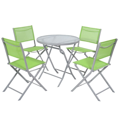 5-Piece Folding Chairs & Table Patio Furniture Set in Green - YourGardenStop