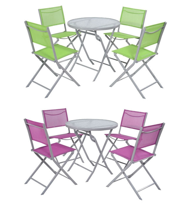 5-Piece Folding Chairs & Table Patio Furniture Set (Lilac or Green) - YourGardenStop