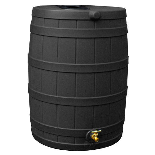 40-Gallon Plastic Rain Barrel in Brown Oak Finish with Spigot - YourGardenStop