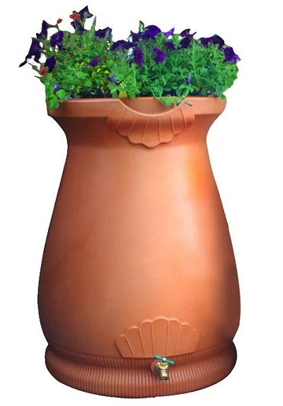 2-in-1 Terra Cotta 65-Gallon Rain Barrel and Planter - YourGardenStop