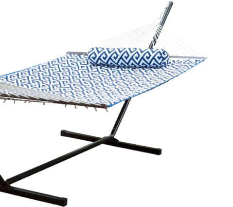 Blue White Meander Quilted 11 Ft Hammock with Sturdy Metal Stand - YourGardenStop